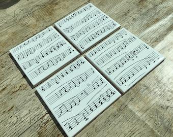 Set of Four Music Design Ceramic Coasters