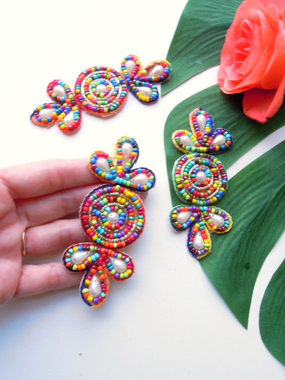 3 Beaded appliques Multicolour appliques BoHo DIY summer accessories  Colourful ethnic appliques for jewellery, bags, boots, sandals