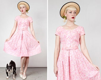 Vintage 1950s Soft Cotton Shirtwaist Day Dress with Pink Floral Print and Matching Belt
