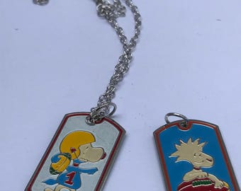 vintgae mini snoopy and wood stock pendant necklaces