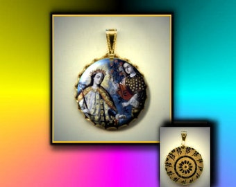 St Lidwina Patron Saint of ice skaters and the chronically ill Hand Pressed flat button CABOCHON in Brass Charm / Pendant