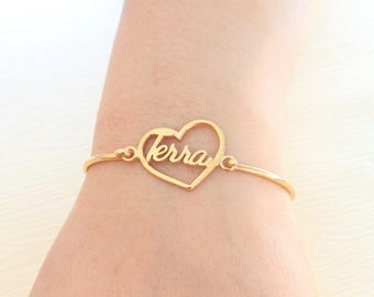 Heart Bracelet - Personalized Name Bracelet - Personalized Jewelry - Custom Name Bracelet - Personalized Bridesmaids Gifts - Christmas Gift