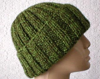 Green tweed watch cap, beanie hat, longshoremens cap, knit hat, toque, slouchy hat, green hat, mens womens hat, chemo cap, ski hiking hat