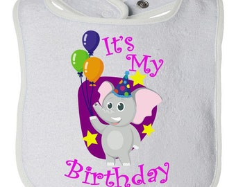 It's My Birthday Elephant and Balloons Baby Bib Boy or Girl