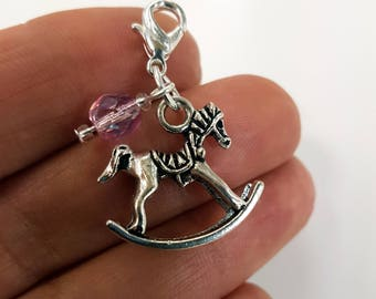 New Baby Charm - Rocking Horse Charm - New Baby Girl Charm -  Baby Shower Favour SCC402