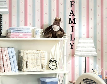 Family Vertical  Vinyl Wall Decals -Select Color