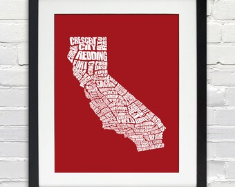 California Cities Word Map - Typography Map Art, Home Decor, Housewarming Gift, Moving Gift, Custom Travel Map, Print or Canvas
