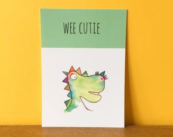 Wee Cutie Dino A6 card