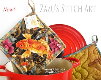 2 Fabric Hot Pads, Quilted Potholders - Asian Metallic Koi Fabric Kitchen Potholders, Set of 2