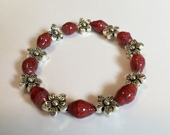Red Beaded Bracelet, Red and Silver Bracelet, Elastic Bracelet