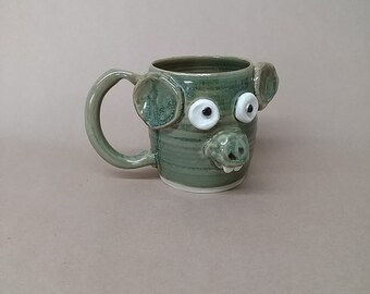 Maxi Mouse, The Nelson UgChug Mug. Microwave Dishwasher Safe Stoneware Pottery Cup. 16 Ounce Tea Cup. Dysfunctional Cousin.