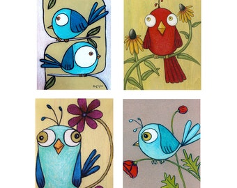 Colorful Birds Boxed Greeting Card Set of 8
