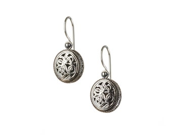filigree oval earrings in sterling silver
