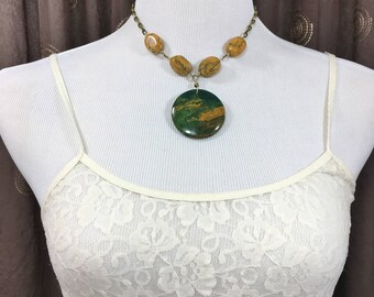 Women's Statement Necklace Unique Large Gemstone Focal Pendant Necklace Bold Necklace Earthy Green Urban Boho Chic Bohemian Necklace Jewelry
