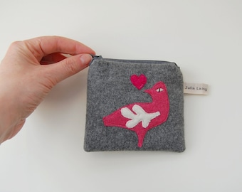 Coin Purse - Folk Art Bird - Grey Cashmere Wool
