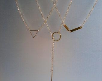 Minimalist Necklace, Minimal Necklace, Dainty Necklace, Chain necklace, Mini Necklace, Y necklace, Bar . Minimalist Jewelry, 18K Gold plated