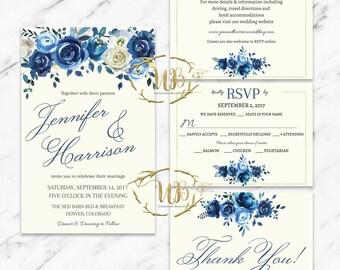 Blue Floral Wedding Invitation Suite, Printable Floral Wedding Invitation, Floral Wedding Set, Floral Wedding, DIY Wedding, Blue Wedding
