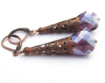 Antique Earrings, Copper Filigree Earrings, Dangle Earrings, Purple Earrings, Long Earrings, Long Drop Earrings, Costume Jewelry, HADLEY