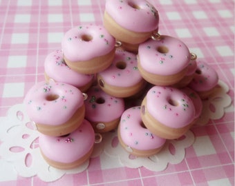 5 Strawberry Frosted Donuts Charms
