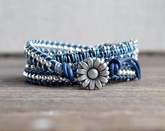 Tranquil Blue Quadruple Wrap Leather Bracelet