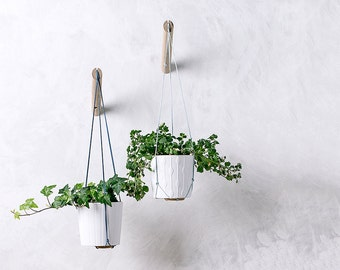 Hanging planter with light blue thread, wall planter, indoor plant hanger