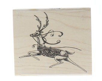 Comet Holiday Reindeer Stampington And Co Wooden Rubber Stamp