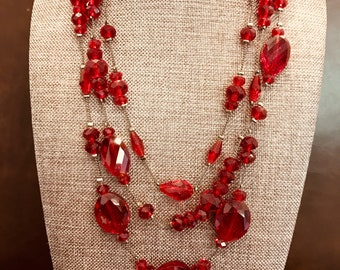 Red Glass Faceted Bead Necklace Art Deco Czech Neaded Choker Cherry Faceted Crystals Glittery. 1930s Vintage Fashion Jewelry  J79