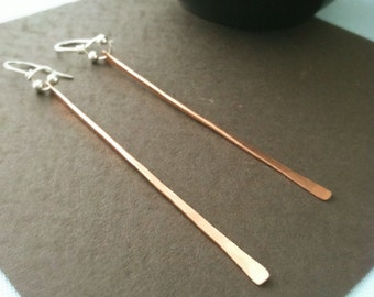 Hammered copper bar earrings, copper earrings, long earrings, modern earrings