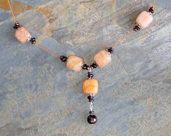 Chunky Orange Necklace, Garnet Necklace, Orange Jade Necklace, Natural Stone Necklace, Rustic Necklace, Bohemian Necklace, Handmade