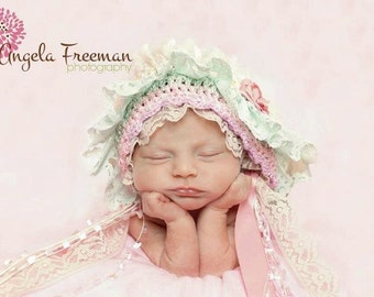 baby girl bonnet, bonnet with lace, sitter bonnet with lace
