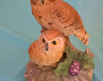 Gorham Brown Owl with Owlet Music Box