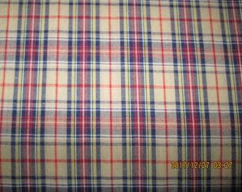 ENGLISH TARTAN  FABRIC  Gordon Design  Multi Colores  pattern  1 Yard -  Polyo / Cotton  Blend Fabric #8