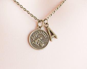 Aquarius Zodiac Sign Astrology Necklace, Zodiac, Aquarius necklace, star sign necklace,star sign necklace, January and February birthday