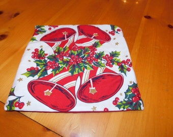 """Pillow Cover 12"""" Made By Us From Vintage Christmas Bells and Holly Tablecloth, Repurposed/Upcycled"""