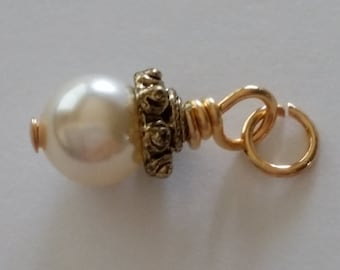 Cream Swarovski Crystal Pearls Wire Wrapped in Gold, Dangle Charms, add a charm, add a dangle, wire wrapped dangle charms