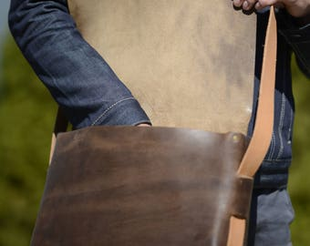 Handmade Jordan leather messenger bag in Horween leather