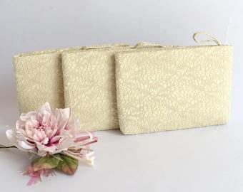 Bridesmaid Gift Bag Wedding Clutch  Bridesmaid Wristlet Wedding Purse Bride Clutch Bag Evening Purse Crochet Lace on Satin