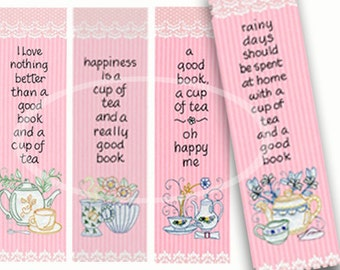 Printable Tea Bookmarks, Tea Party Favor, Pink Bookmarks, DIY Bookmark, craft supplies, Pink shower favor, tea cups, digital download