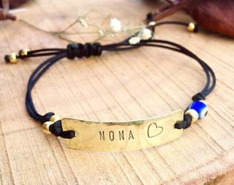 NONA  Greek word Godparent  Godmother gift  personalized bracelet Handstamped adjustable brass bracelet