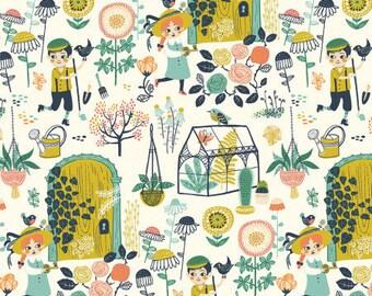 Organic knit fabric, Birch Organic Fabric, Hidden Garden fabric, hidden garden main, Floral fabric, garden fabric, knit fabric