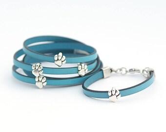 Mother Daughter Bracelet, Set of 2 bracelets, Cat dog lovers Leather Bracelet, Paw Print Bracelet, Cat lovers Jewelry, Gift for Animal Lover