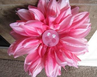 Wonderland Flowers - Large Pink Dahlia - Hand Painted Face - Vintage Alice in Wonderland
