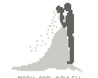 Modern wedding cross stitch pattern, bride and groom silhouette cross stitch pattern,  Card size wedding cross stitch chart, wedding stitch