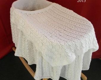 KNITTING PATTERN For Baby Moses Basket Cover & Blanket PDF 241 Digital Download