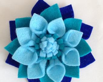 blue brooch, flower hair clip, blue flower brooch, flower brooch, flower hair barrette, blue flower, felt jewellery, felt flower