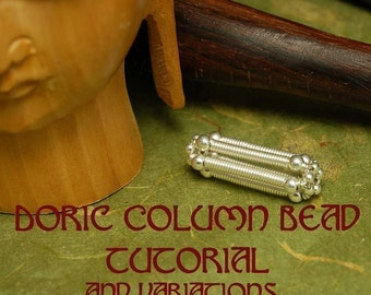 Doric Column Silver Wire Beaded Bead  Earring or Pendant - Instant Download Wire Jewelry Tutorial Instruction
