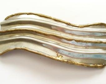 Huge Brutalist Scarf Slide or Belt Buckle, Brutalist Brass Buckle, Vintage Brass Slide,  Industrial Brass Slide, Unisex Buckle