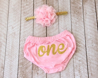 """First Birthday """"One"""" Diaper Cover & Headband Set in Pink and Gold Glitter - Smash Cake Outfit - 1st Birthday - Baby Bloomer - Baby Girl"""