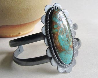 Kingman Turquoise Cuff Bracelet with Scalloped Edge - Double Band Cuff Bracelet - 25th Anniversary Gift - December Birthstone