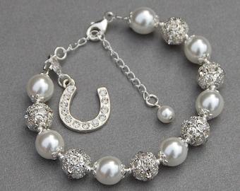Horseshoe Jewelry, Horse Lover Gift, Horseshoe Charm Bracelet, Brides Jewelry, Good Luck Jewelry, Lucky Charm Bracelet